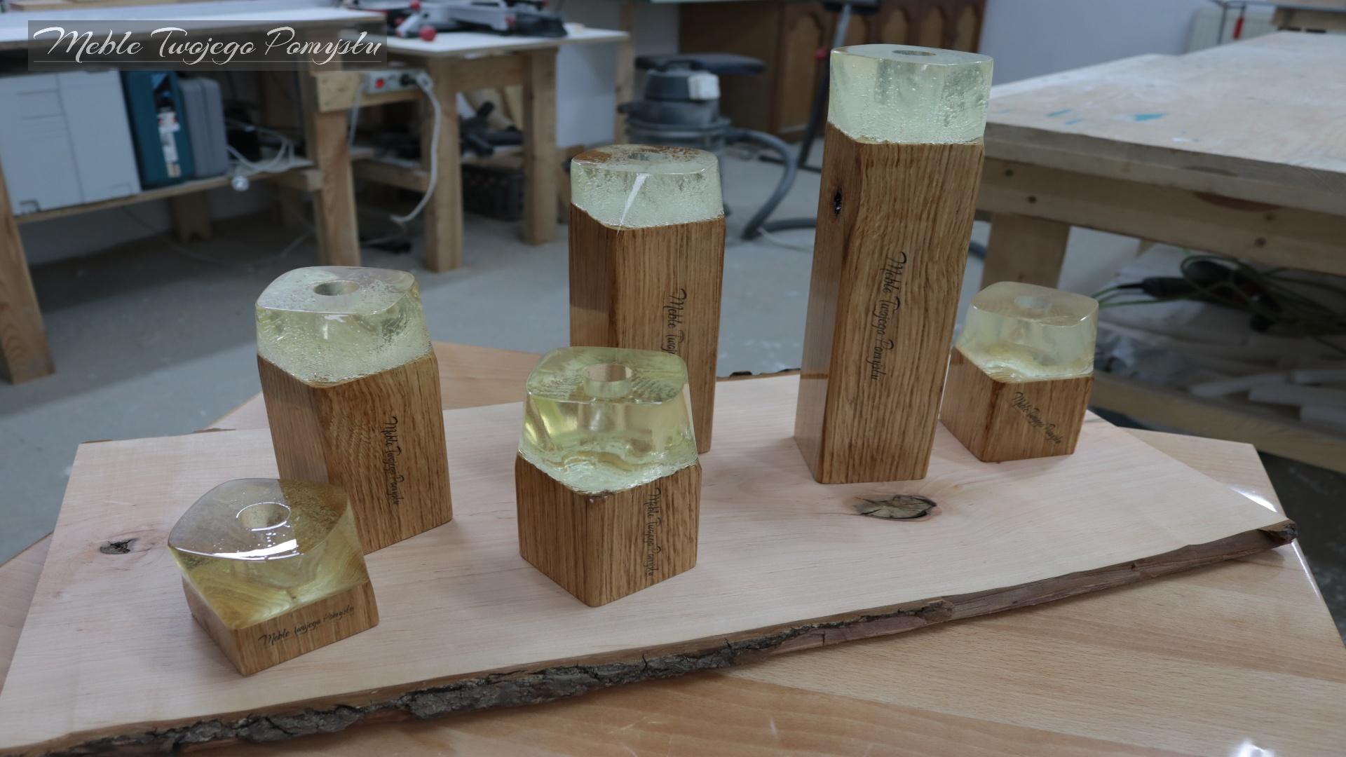 Świeczniki zalane żywicą epoksydową