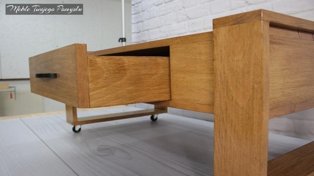 Drewniany stolik kawowy Z szufladą