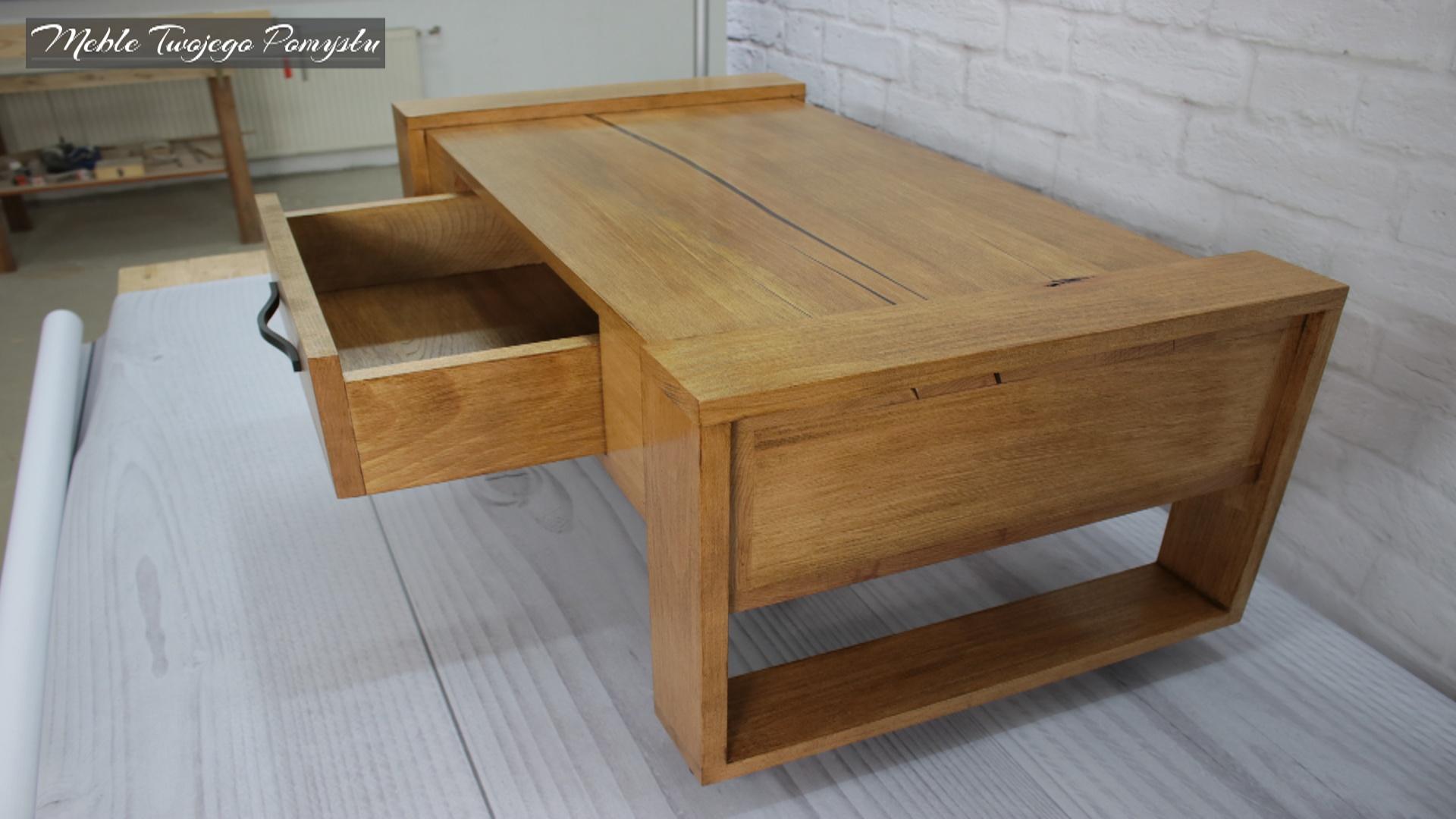 Drewniana szuflada z uchwytem bez prowadnic