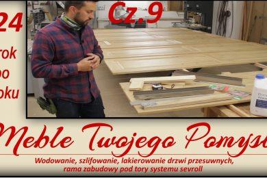 124 - Cz.9 Wodowanie, szlifowanie, lakierowanie drzwi przesuwnych, rama zabudowy pod tory systemu sevrol, ottimo systems,wypełniacz do ubytków w drewnie,thermelt,bcd 180,meble twojego pomysłu,jak działa,stolarstwo,drewno,stolarnia,warsztat,felder,jak zrobić,meble,wood,woodworking,jak wykonać,how to make,krok po kroku,darek stolarz,hammer,carpenter,diy,poliamid,drema,wolfcraft,ściski,drzwi przesuwne,garderoba,szafa,dąb,kleiberit 303.2,festool,papier ścierny,lakierowanie,bona wave,szlifowanie,wodowanie drewna,rama zabudowy,frezowanie,frezarka,k690s,ad741,fb610,f700z