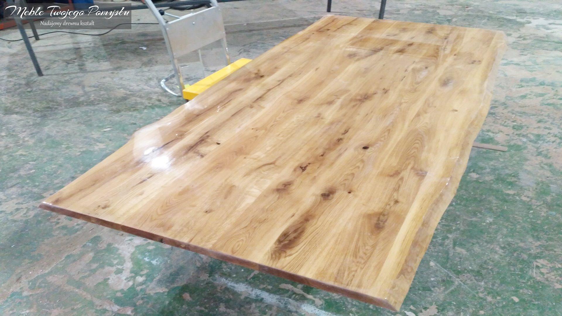 Blat dąb stołowy z oflisem i żywicą epoksydową, kopacki, mazowiecki